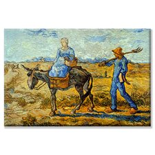 Morning with Farmer and Pitchfork; His Wife Riding a Donkey And Carrying a Basket Canvas Wall Art