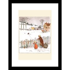 <strong>Buyenlarge</strong> Four and Twenty Blackbirds: Children Look at Blackbirds in the Field of Snow Framed and Matted Print