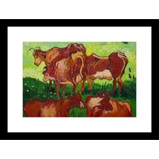 <strong>Buyenlarge</strong> Les vaches by Van Gogh Framed and Matted Print