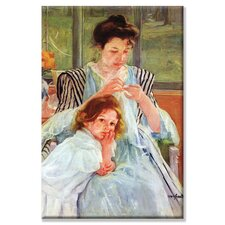 'Young Mother Sewing' Painting Print on Canvas