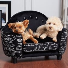 Ultra Plush Headboard French Script Dog Bed