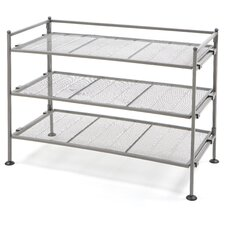 "Mesh Shoe Rack 19.1"" H 3 Shelf Shelving Unit"