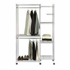 UltraZinc Heavy-Duty Mobile Steel Wire Closet Organizer with Wheels