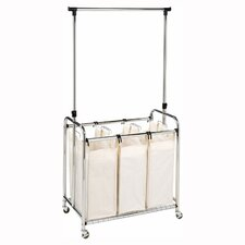 <strong>Seville Classics</strong> 3-Bag Laundry Sorter with Hanging Bar