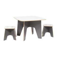 Kids 3 Piece Square Table & Stool Set