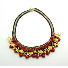 Red Coral Brass Bead Necklace