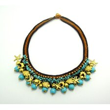 Turquoise and Brass Beads Necklace