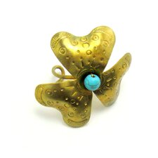 Brass Turquoise Bead Flower Ring