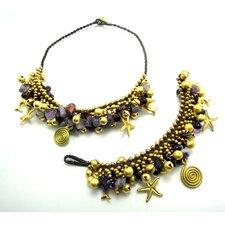 Goldtone Amethyst and Brass Bead Necklace and Bracelet Set