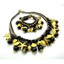 Onyx and Brass Beads Necklace and Bracelet Set