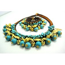 <strong>WNK International</strong> Turquoise and Brass Beads Necklace and Bracelet Set