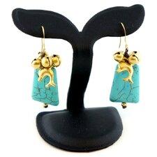Goldtone Turquoise Bead Earrings