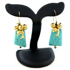 Goldtone Turquoise Bead Earrings