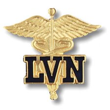 Licensed Vocational Nurse Caduceus with Emblem Pin