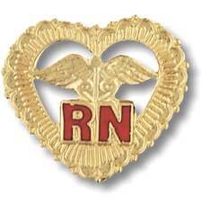 Registered Nurse Filigreed Heart with Emblem Pin