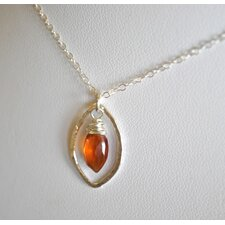 Sterling Silver Hessonite Leaf Necklace