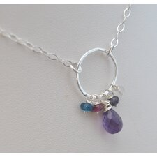Gemstone Sterling Silver Amethyst Cluster Necklace