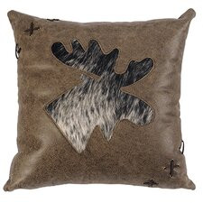 Jacobs Plaid Moose Cut Out Pillow With Leather Back