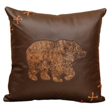 Decorative Bear Cut Out Pillow With Deerskin Lacing