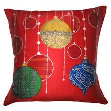 Holiday Elegance Sparkling Ornaments Silk Pillow