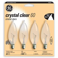 60W Candle Shaped Candelabra Bulb (Pack of 4)
