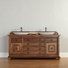 "Mykonos 72"" Double Vanity Set with Wood Top"