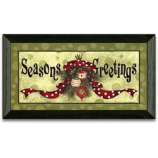Seasons Greeting Holiday Framed Graphic Art