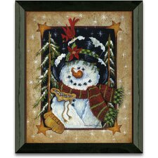 Feeding The Birds Winter and Holiday Framed Painting Print