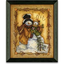 Snow Folk Love Christmas Holiday Framed Painting Print