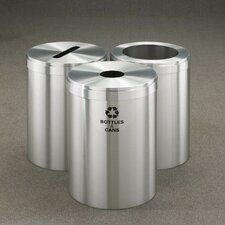 RecyclePro Value Series Triple Unit 123 Gallon Multi Compartment Recycling Bin