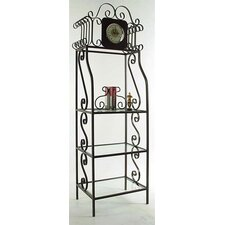 "79"" H Clock Etagere with Shelves"