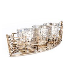 Costa Brava Iron Boat with 3 Mercury Glass Candle Holder