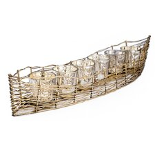 Costa Brava Iron Boat with 6 Mercury Glass Candle Holder