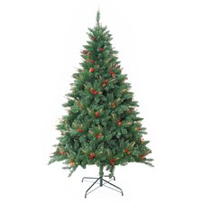 <strong>Zest Candle</strong> Pre-Lit 7' Green Berrywood Pine Artificial Christmas Tree with 400 Pre-Lit Lights with Stand