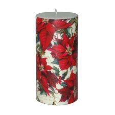 Christmas Poinsettia Pillar Candle (Set of 4)
