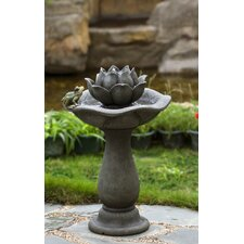 Polyresin and Fiberglass Lotus Flower and Frog Tiers Water Fountain