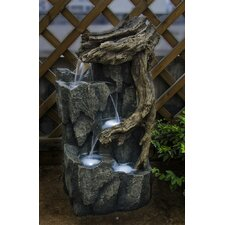 Polyresin and Fiberglass Tree Trunk and Rocks Fountain