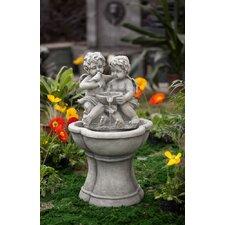 Polyresin and Fiberglass Cherub Water Fountain