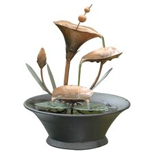 Tiered Metal Flower Tabletop Fountain