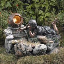 Giocoso Playful Outdoor Rock Water Fountain with LED Light