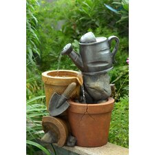 Polyresin and Fiberglass Tiered Small Water Can Fountain