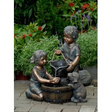 Polyresin and Fiberglass Two Kids and Dog Fountain