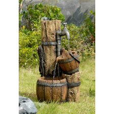 Polyresin and Fiberglass Tiered Wood Cask Fountain