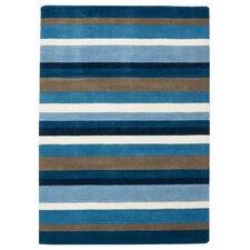 Jazz Blue / Chocolate / White Striped Loomed Rug