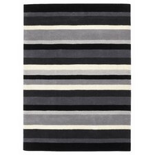 Jazz Black / Grey Striped Contemporary Rug