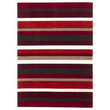 <strong>Brook Lane Rugs</strong> Jazz Red / Chocolate / White Striped Loomed Rug