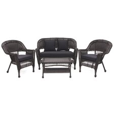 <strong>Wicker Lane</strong> 4 Piece Lounge Seating Group with Cushions