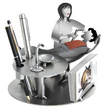 Desk Accessory Dentist with Patient Female Business Card Holder