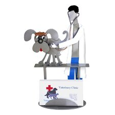 Desk Accessory Veterinarian Dog Examining Cat Business Card Holder