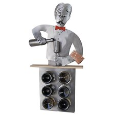 <strong>H & K SCULPTURES</strong> Bartender 6 Bottle Wine Caddy